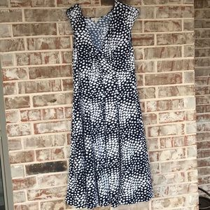 1X Navy and White shape Wrap and Flare Dress